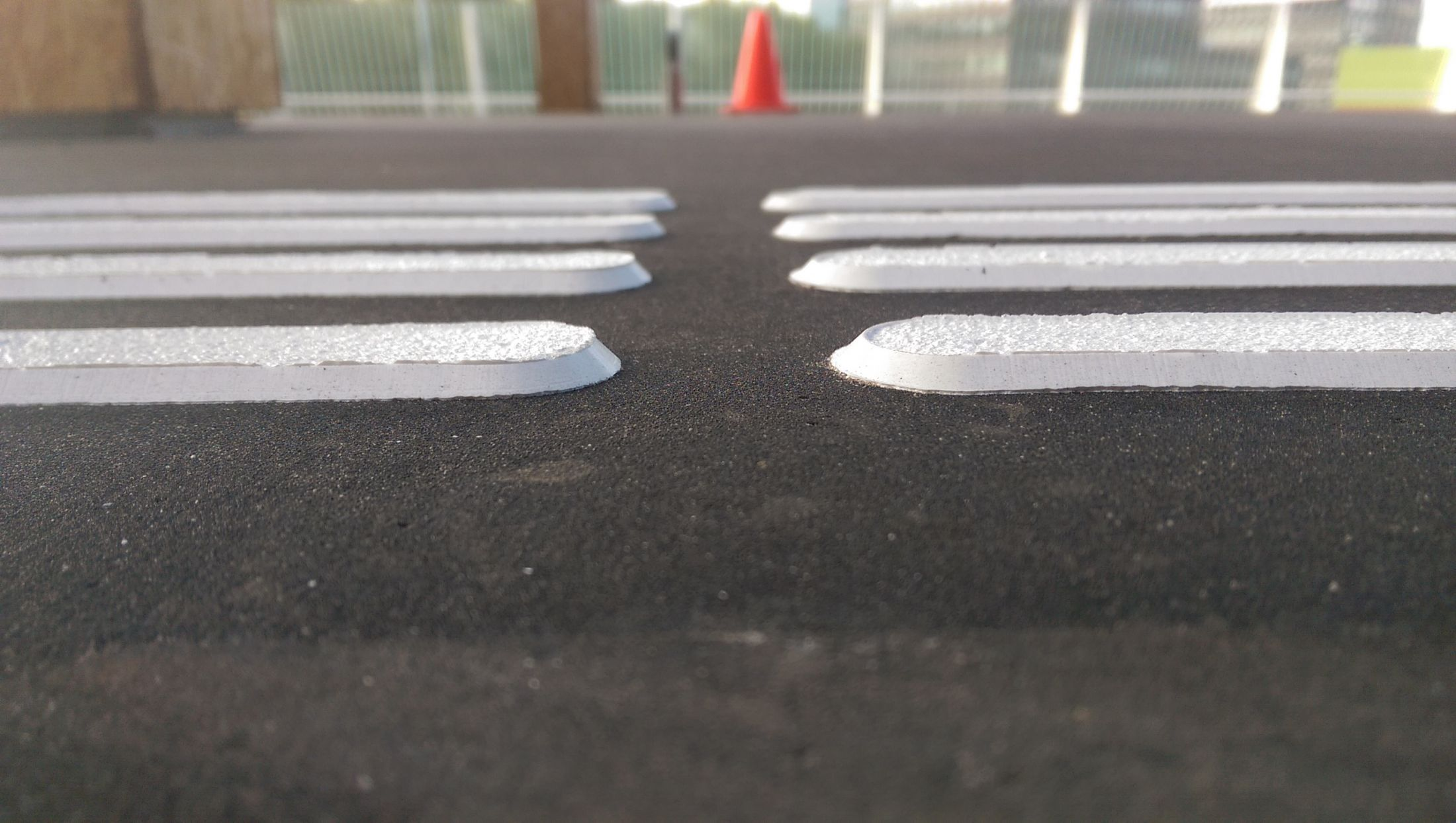 Tactile guiding ridges train <br> installed in situ
